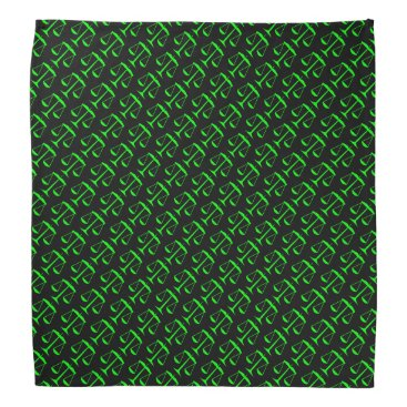 Lawyer Themed Lime Green Scales of Justice on Black Bandana