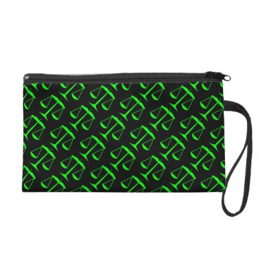 Lawyer Themed Lime Green Scales of Justice on Black Wristlet Purse