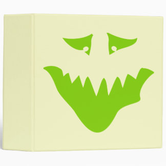 Lime Green Scary Face. Monster. Binder