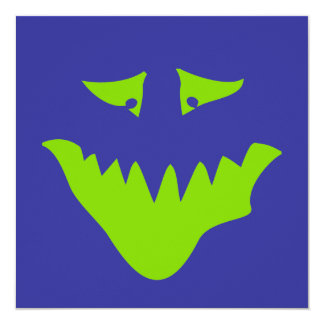 Lime Green Scary Face. Monster. Card