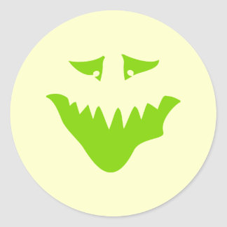 Lime Green Scary Face. Monster. Classic Round Sticker