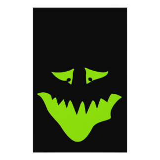 Lime Green Scary Face. Monster. Flyer