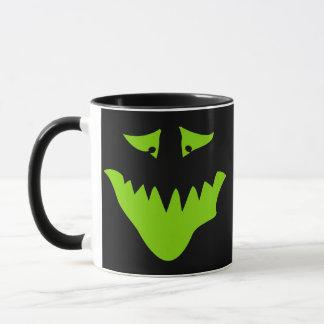 Lime Green Scary Face. Monster. Mug