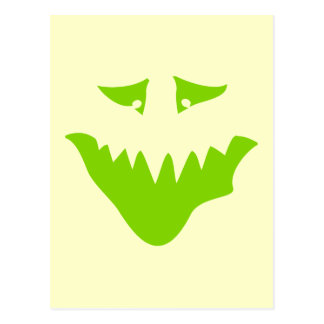 Lime Green Scary Face. Monster. Postcard