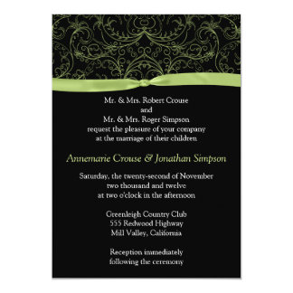 Lime Green Scrolls and Ribbon Wedding Invitation