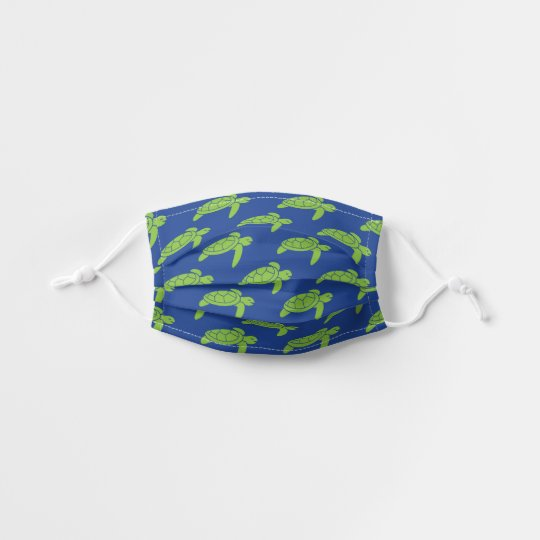 Lime Green Sea Turtle Pattern   Royal Blue Kids' Cloth Face Mask