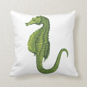 Beach Themed Lime Green Seahorse on White Throw Pillow