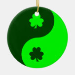 Lime Green Shamrock Yin Yang 2 Christmas Tree Ornaments