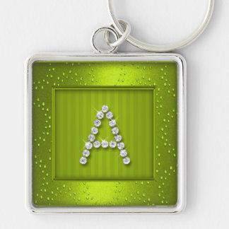 Lime Green Shimmer and Sparkle with Monogram Keychain
