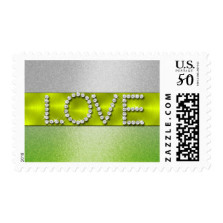 Lime Green Shimmer Gradient Silver LOVE Postage