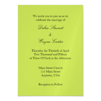 Lime Green Simple Magnetic Wedding Invitation