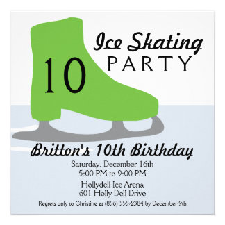 Lime Green Skate Date Ice Skating Birthday Party Announcement