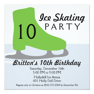 Lime Green Skate Date Ice Skating Birthday Party 5.25x5.25 Square Paper Invitation Card