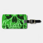 Lime Green - Skull Luggage Tag