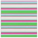 [ Thumbnail: Lime Green, Sky Blue, Mint Cream & Deep Pink Lines Fabric ]
