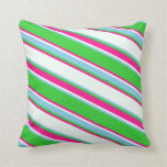 [ Thumbnail: Lime Green, Sky Blue, Mint Cream & Deep Pink Lines Throw Pillow ]