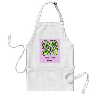 Lime Green Snake, on pink. Adult Apron