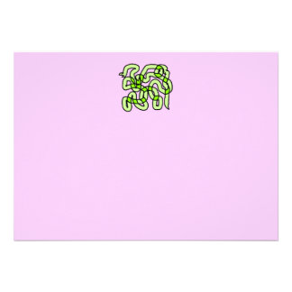 Lime Green Snake, on pink. Custom Announcements