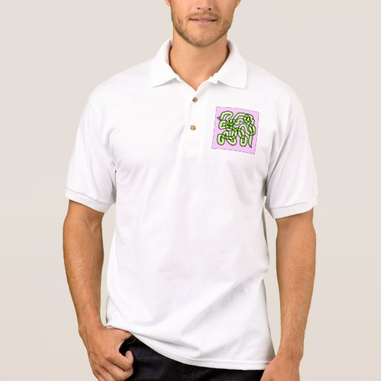 Lime Green Snake, on pink. Polo Shirt
