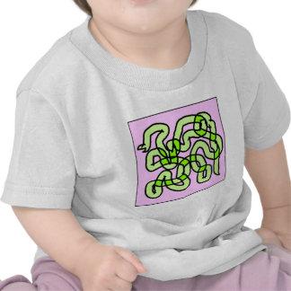 Lime Green Snake, on pink. Shirt