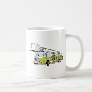 Lime Green Snorkel Fire Truck Cartoon Coffee Mug