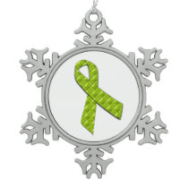 Lime Green Snowflake Pewter Christmas Ornament
