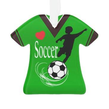 Beach Themed Lime Green Soccer Ball Shirt Ornament