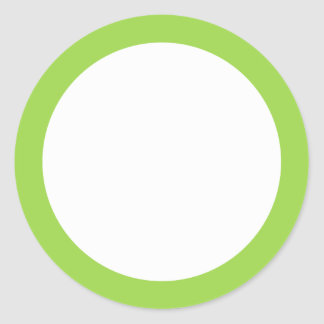 Lime green solid color border blank round sticker