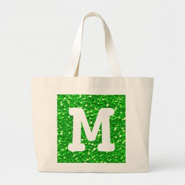 Beach Themed Lime Green Sparkly Faux Glitter Look Monogram Large Tote Bag