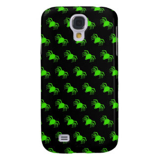 Lime Green Spiders on Black Galaxy S4 Cases