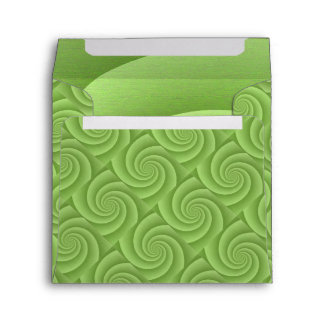 Lime Green Spiral in brushed metal texture Envelope