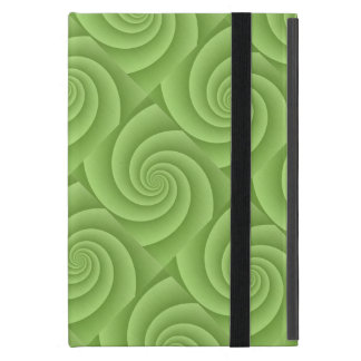 Lime Green Spiral in brushed metal texture iPad Mini Case