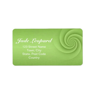 Lime Green Spiral in brushed metal texture Address Label