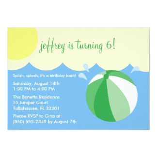 Lime Green Splish Splash Birthday Pool Party 4.5x6.25 Paper Invitation Card