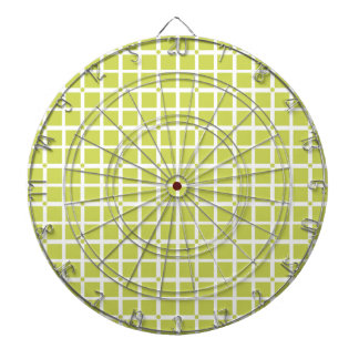 Lime Green Squares Geometric Pattern Dartboard