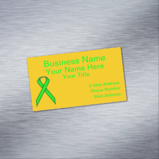 Lime Green Standard Ribbon Business Card Magnet