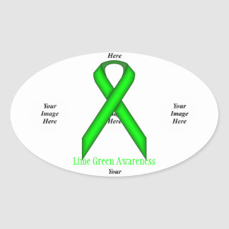 Lime Green Standard Ribbon by Kenneth Yoncich Oval Sticker