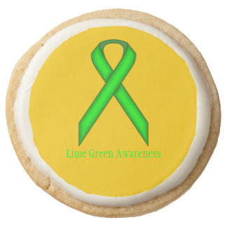 Lime Green Standard Ribbon by Kenneth Yoncich Round Shortbread Cookie