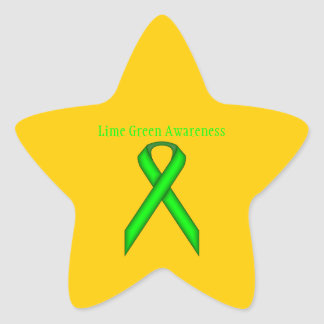 Lime Green Standard Ribbon by Kenneth Yoncich Star Sticker