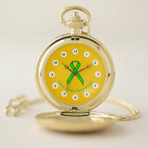 Lime Green Standard Ribbon (Cf) by K Yoncich Pocket Watch