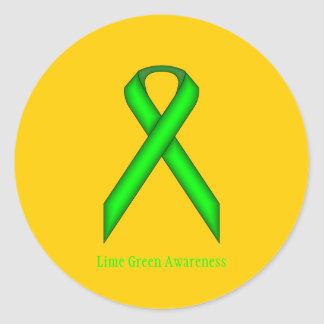 Lime Green Standard Ribbon Classic Round Sticker