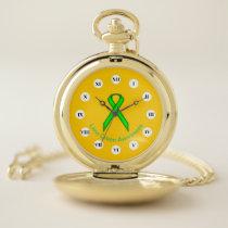 Lime Green Standard Ribbon (Rf) by K Yoncich Pocket Watch