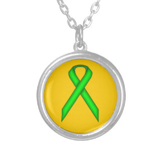 Lime Green Standard Ribbon Round Pendant Necklace