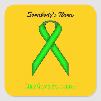 Lime Green Standard Ribbon Square Sticker