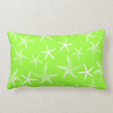 Beach Themed Lime Green Starfish Decorative Lumbar Pillow