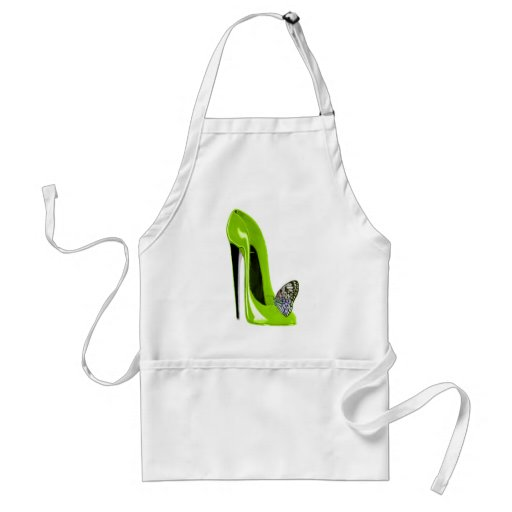 Lime green stiletto shoe and butterfly apron