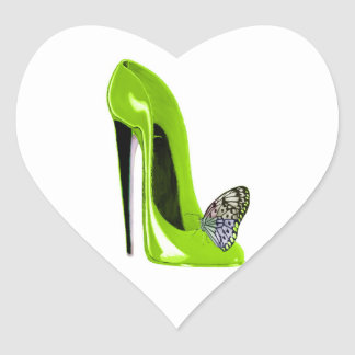 Lime Green Stiletto Shoe and Butterfly Heart Sticker