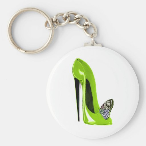 Lime Green Stiletto Shoe and Butterfly Keychain
