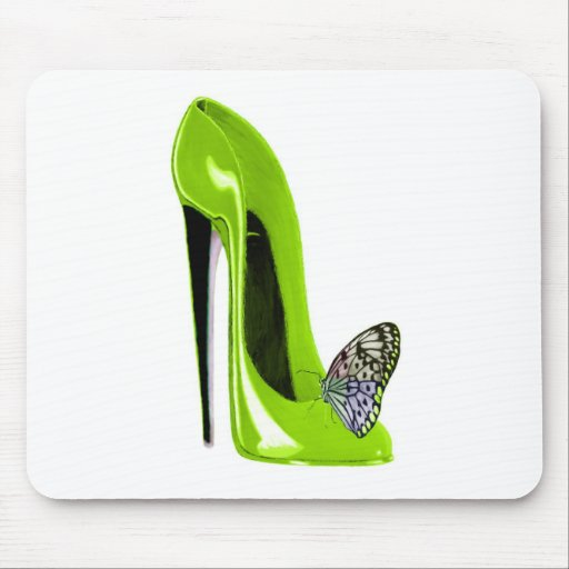 Lime green stiletto shoe and butterfly mousemats
