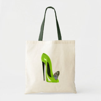 Lime green stiletto shoe and butterfly tote bag